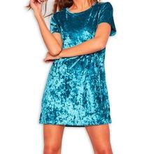 Casual Summer Women Dress Loose Solid Short Sleeve Velvet Dress Sexy Party Mini Dresses Robe Vestidos de fiesta