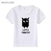 Детская футболка с надписью «Маленький Монстр» футболка для мальчиков и девочек, детская одежда для малышей Забавные футболки Tumblr Прямая поставка