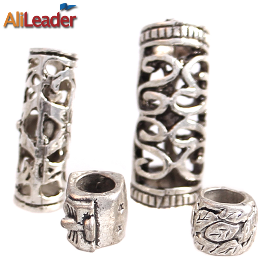 100pcs Lot Mixed 4 Styles Hair Braid Rings Dreadlock Beads Dread Cuffs Approx 5 7mm Hole Tibetan
