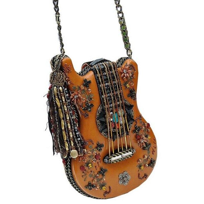 Exquisite handmade musician shaped guitar chain cross body bag women s national style exquisite beading handbag