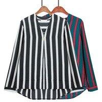 Primavera 2017 Mulheres Blusa Chiffon Camisa Listrada V pescoço Botão Decoração Tops Pulôver de Manga Comprida Plus Size XL-5XL Casual T73601