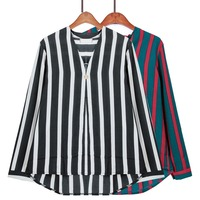 Spring 2017 Women Blouse Striped Chiffon Shirt V Neck Button Decoration Tops Pullover Long Sleeve Plus