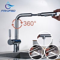 Luxury Pull Out Kitchen Faucet Deck Mounted Vessel Sink Mixer Tap Single Handle Hole Hot And