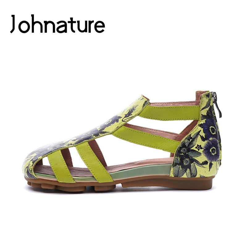 Johnature Genuine Leather Basic Casual Zipper Summer Sandal Print Ethnic Flower Flat With National Style Comfortable