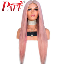 PAFF Pink Wig Cosplay Lace Front Human Hair Wigs Long Straight Brazilian Hair Remy Glueless Wig With Baby Hair