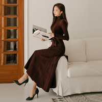 Winter A line Turtleneck Women Sweater Dress 2018 Lace Up Slim Waist Solid Knitted Pullover Dress Casual Female Long Vestidos