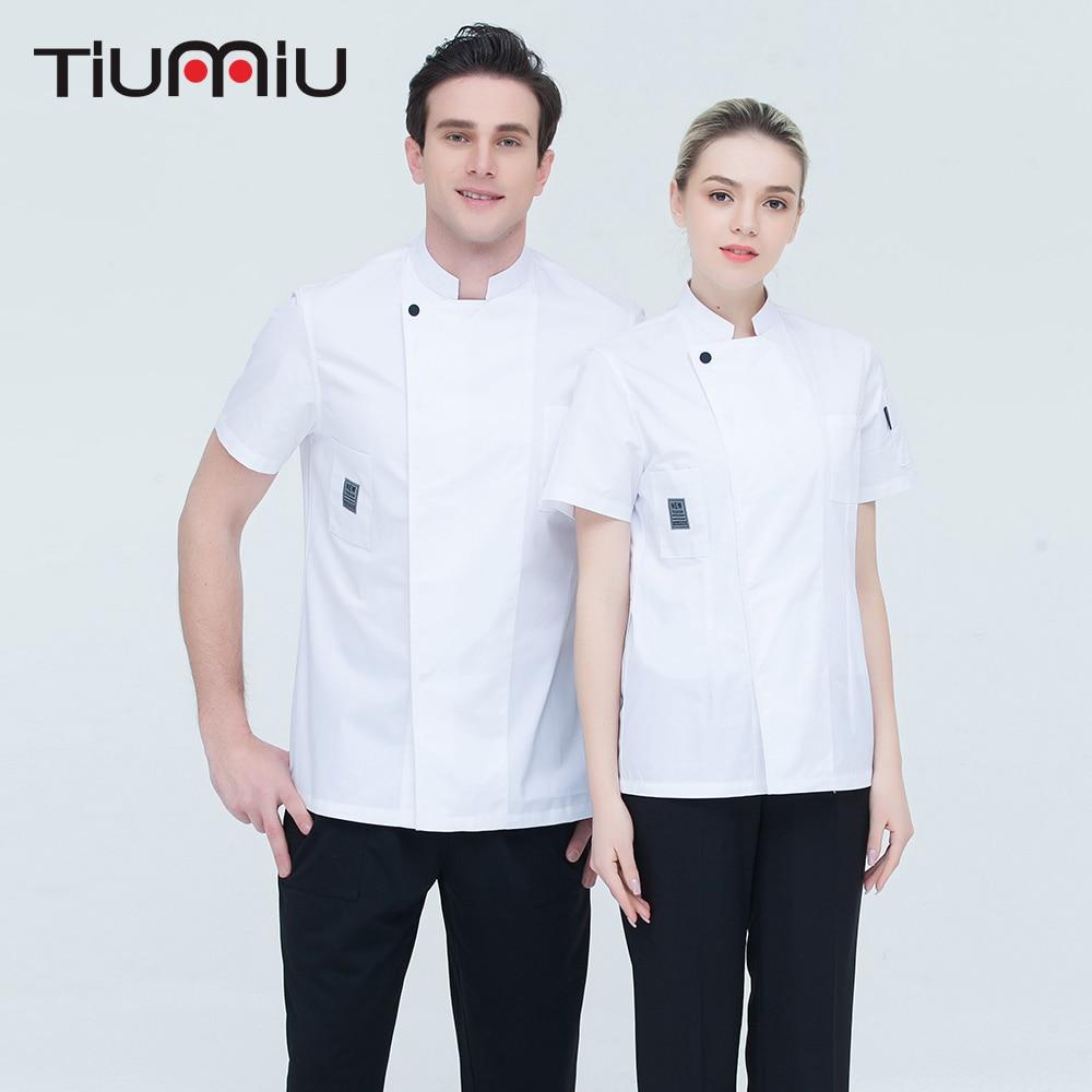 4 Colors M-4XL Wholesale Women Men Short-sleeve Kitchen Work Clothing High Quality Chef Jacket Catering Restaurant Baker Uniform