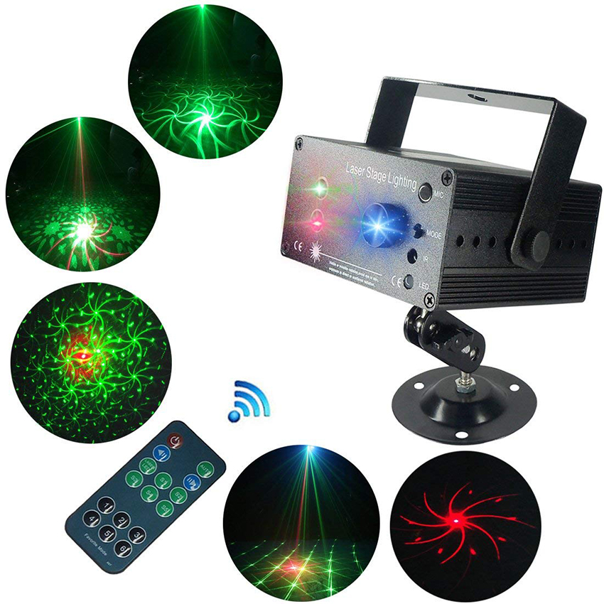 3 Holes 48 Pattern Led Laser Projector Activated Voice Control Stage Flash Light Dj Disco Club Outdoor Indoor Dancing Party Stage Lighting Effect Commercial Lighting