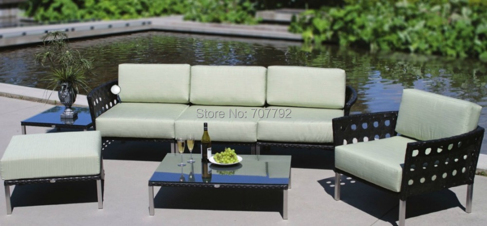 2017 Best Sale Low Back Poly Rattan 4 Seater Patio Furniture Sofa  Sectional(China)