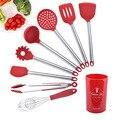 9 шт. красный/черный силиконовый набор кухонных принадлежностей лопатка кухонные инструменты для приготовления пищи набор с ведром для хра...
