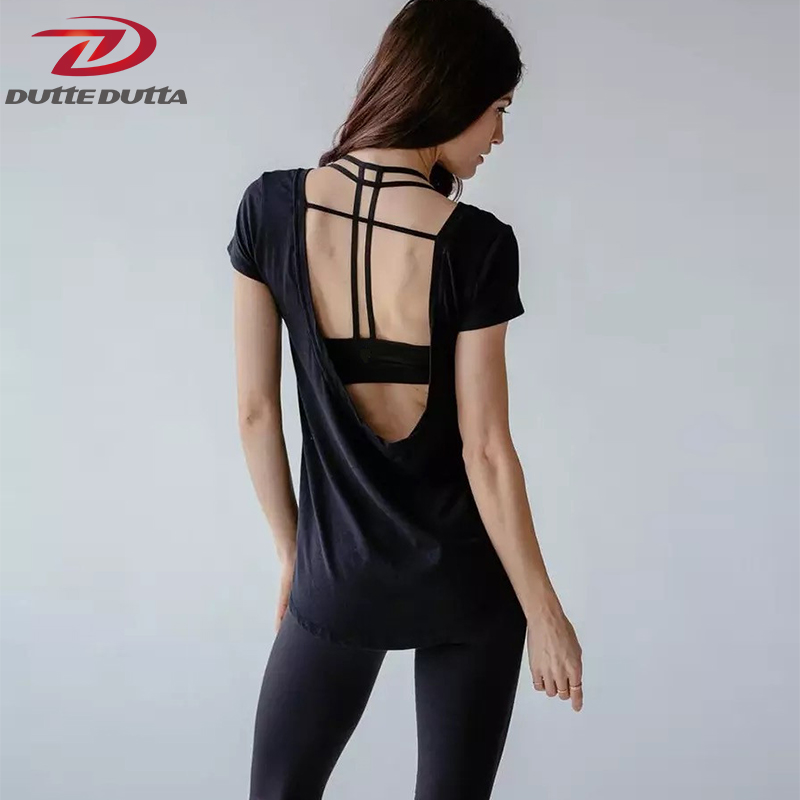 Breathable Yoga Tops Women Short Sleeve Cover Up Backless
