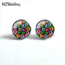 2018 New Polish Folk Art Patterns Earring Flowers Ear Stud Glass Cabochon Photo Earrings Hand Craft Jewelry HZ4(China)