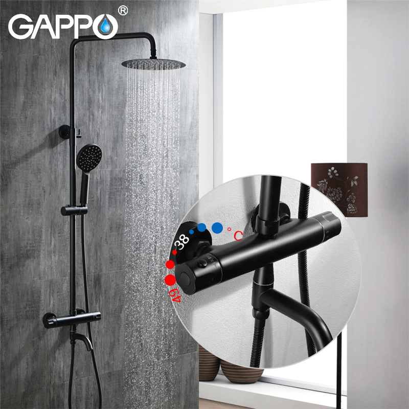 GAPPO Shower Faucets black Concealed shower mixer taps rainfall shower set waterfall bathroom rain mixers faucet