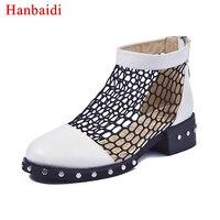Hanbaidi Air Mesh lato buty dla kobiet płaskie sandały grube Dno botki platformy obcasy nity studded pani Buty Przyczynowe