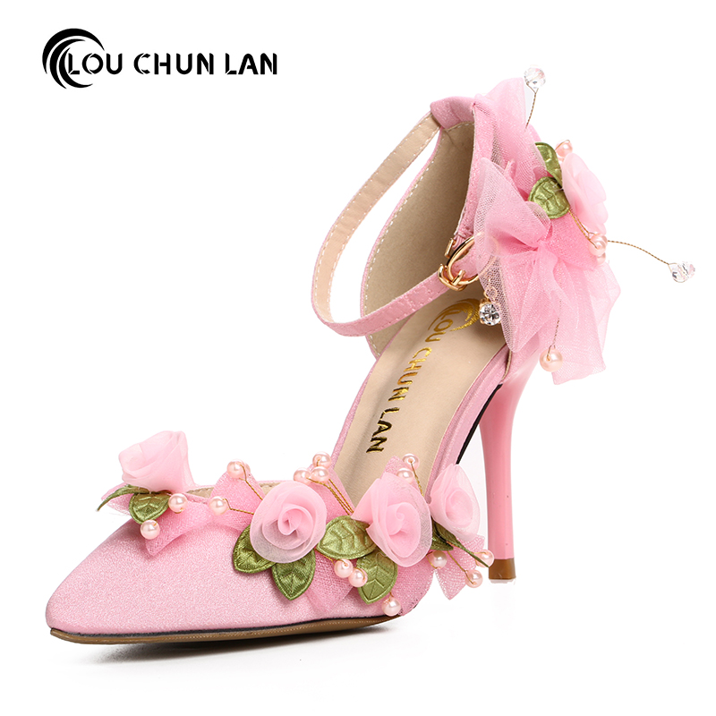 Pink satin fabric thin heels pointed toe wedding shoes handmade beads flower strap bridal bow high-heeled shoes female sandals women pumps shoes pointed toe thin heels crystal shoes wedding shoes bridal shoes rhinestone handmade female high heeled