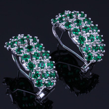 Cheerful Green Cubic Zirconia 925 Sterling Silver Clip Hoop Huggie Earrings For Women V0878