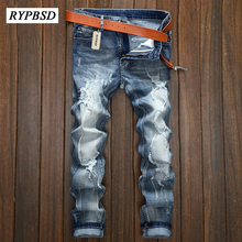 Autumn New Classic Blue Men Jeans Ripped Denim Jeans Men Skinny Slim Fit Casual Stretch Straight Washed Biker Jeans hommes 28-36