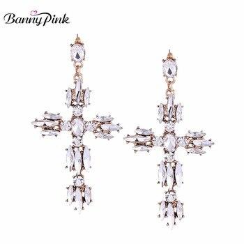 a895cee8b638 Banny Rosa GEO cristal Cruz espárragos Pendientes para las mujeres nueva  aleación Jesús colgante poste Pendientes moda pendientes
