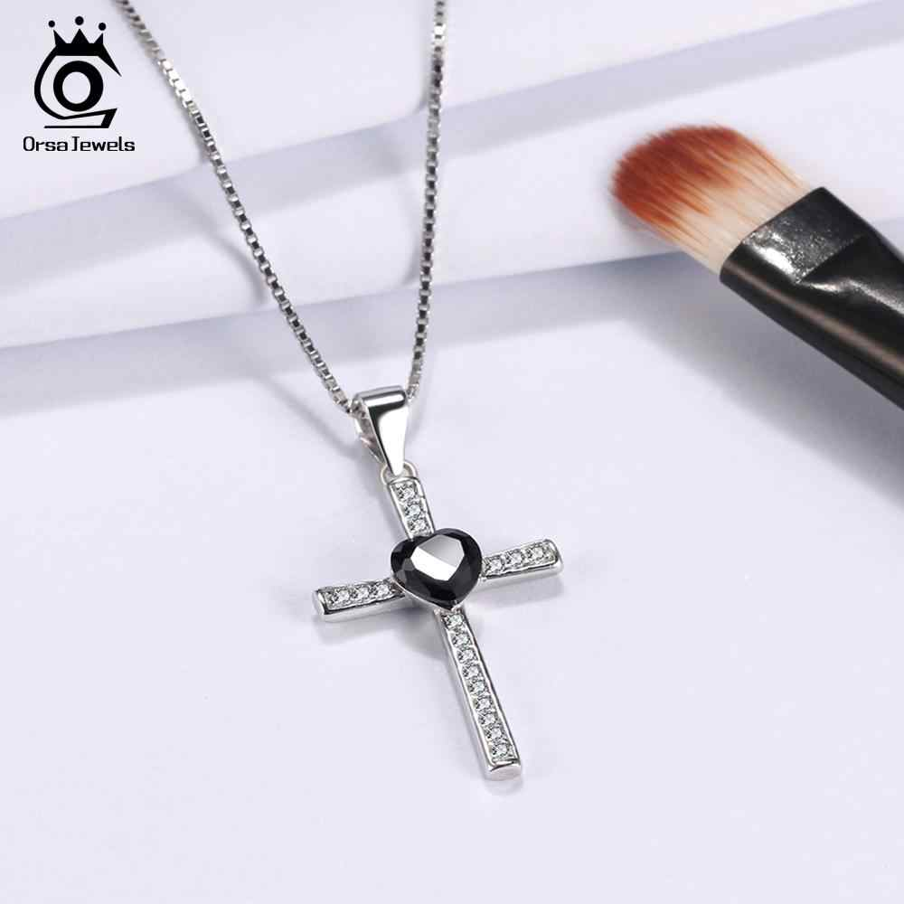ORSA JEWELS Authentic 925 Sterling Silver Love Heart With Cross Pendant For Women Necklaces AAA CZ Fashion Female Jewelry ASN88