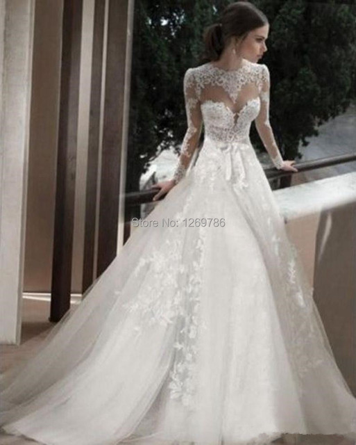 2015 Elegant Wedding Dress Backless Applique Lace Long Sleeves ...