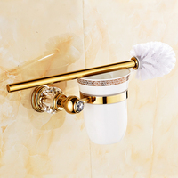 Luxury Gold Toilet Brush Holder Antique Crystal Toilet Cleaning Brush Holder Ceramic Bathroom Accessories