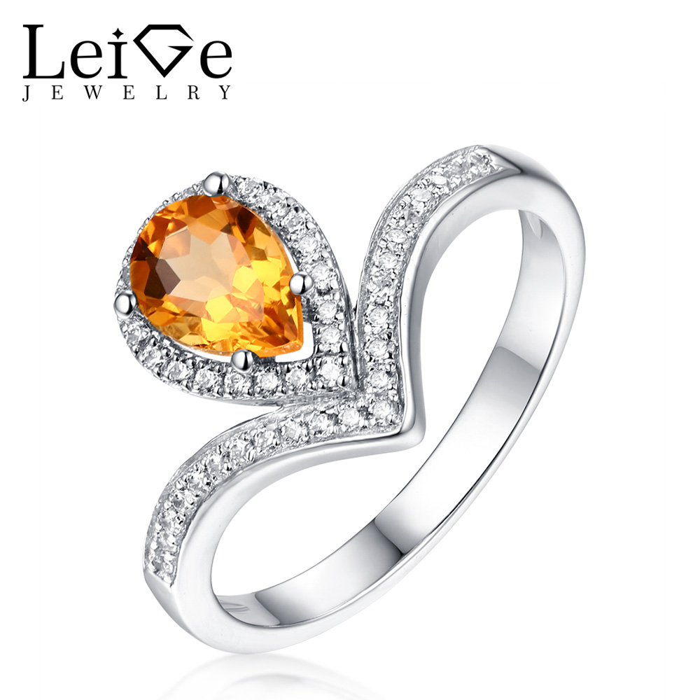 Leige Jewelry Natural Citrine Ring Pear Cut Engagement Wedding Rings Yellow Gemstone for Women 925 Sterling Silver Fine Jewelry leige jewelry pear shaped engagement rings for women lab alexandrite promise ring sterling silver 925 fine jewelry pear gemstone