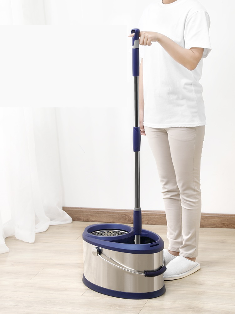 Hand free mop double drive stainless steel rotating mop bucket home automatic mop bucket in Mops from Home Garden