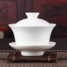 Китайский чайный сервиз Gaiwan, кунг-фу, белый керамический гайвань, белая чайная посуда, сансай, чайная чашка
