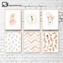 Nursery Girl Bedroom Decoration Flamingo Feather Wall Art Canvas Poster and Print Cartoon Painting Pictures for Living Room