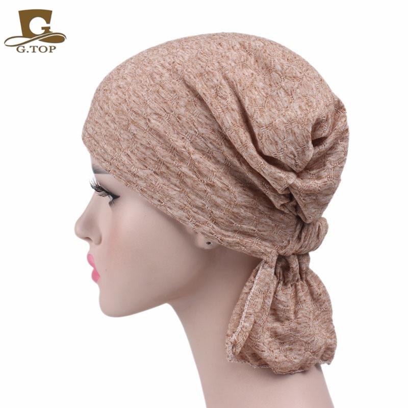 b057c0c39bc Vente chaude pas cher nouvelles Femmes coton Chimio Chapeau Bonnet D été foulard  Turban Chapeaux pour les Patients Cancéreux livraison gratuite dans Cheveux  ...