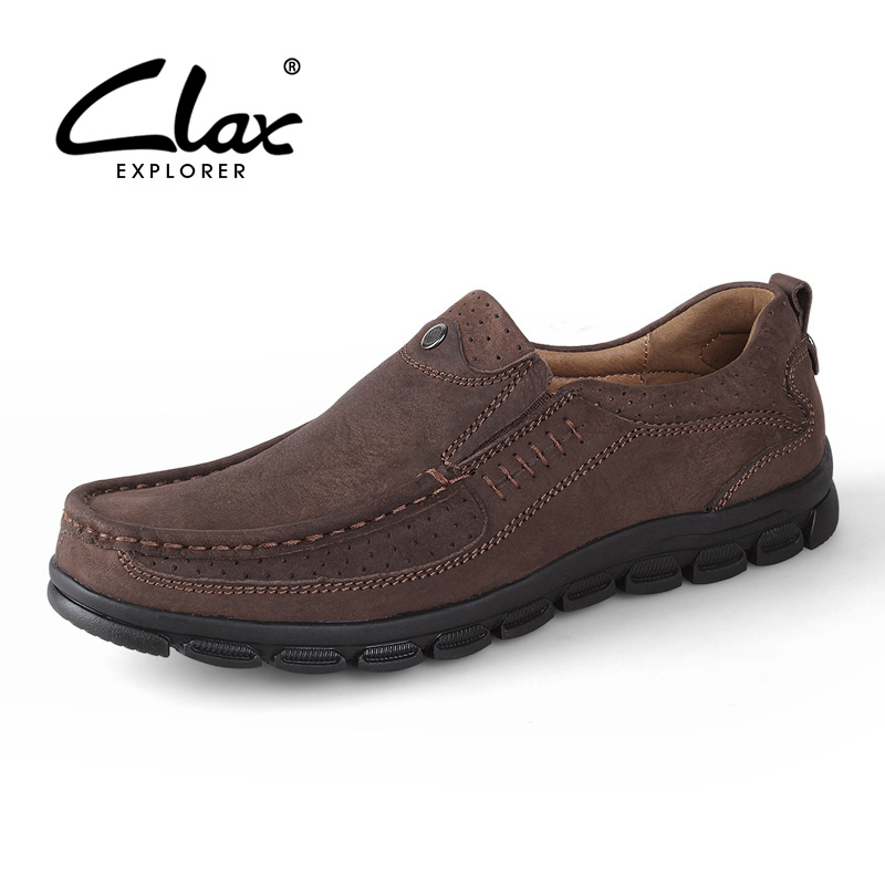 CLAX Men's Leather Shoes 2017 Summer Autumn Casual Walking Shoe for Male Classic Genuine Leather Vintage Retro Loafers Handmade clax men loafers shoes slip on 2017 summer autumn leather shoe for male casual footwear flat moccasin boat shoe breathable
