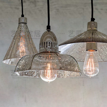 retro industrial loft antique mercury glass  pendant light coffee shop single restaurant  hanging light lamp