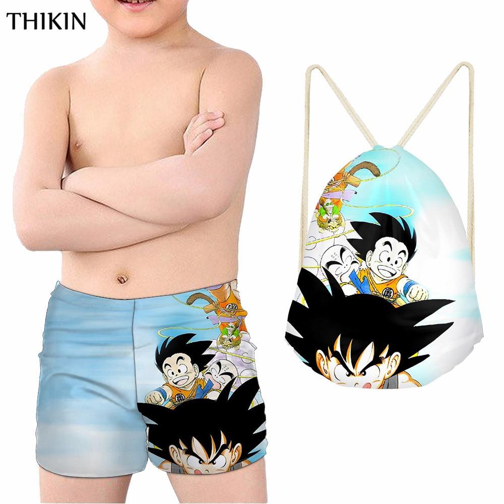 THIKIN Cool Dagon Ball Swimsuit Boy Amine Son Goku Print Sports Swimming Bag Drawstring Backpack Kids Swimwear for Boys Summer in Men 39 s Trunks from Sports amp Entertainment