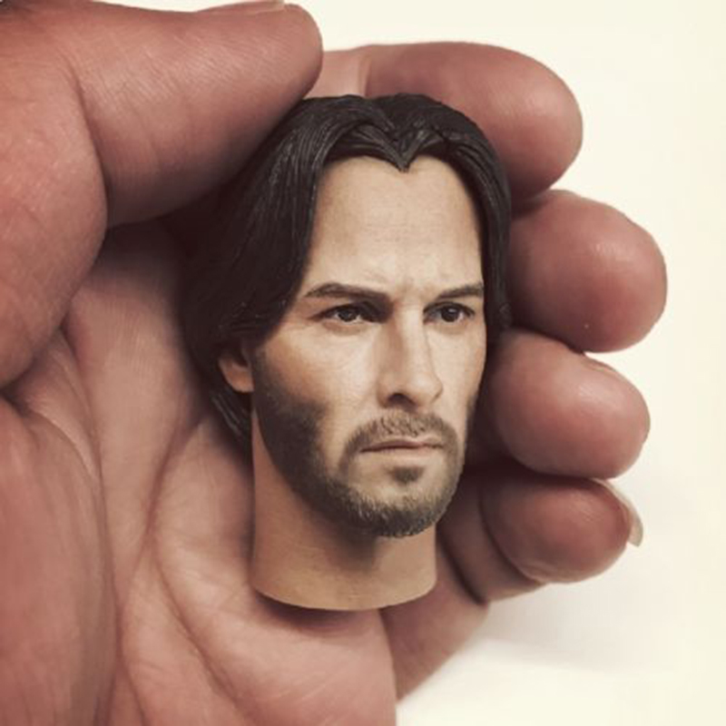 1/6 Scale John Wick Keanu Reeves Male Head Sculpt Carving Model For 12 Inches Men Toy Figure