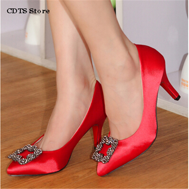 CDTS Plus:33 34-45 Fashion rhinestone Red bottoms mb 8cm thin high heels Slik Women Pumps Sexy Wedding Party pointed toe Shoes cdts king size 44 45 46 47 48 49 women party sandals 2017 summer gold bottoms 13cm thin high heels mujer shoes pointed toe pumps