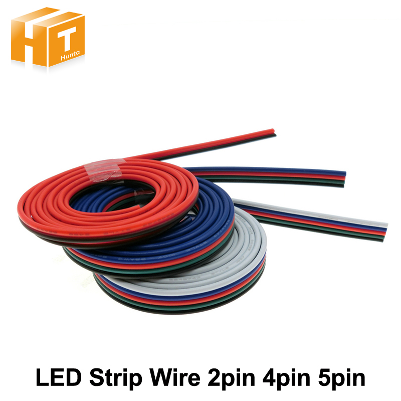 2pin 4pin 5pin Wires Lighting Accessories for Single Color / RGB / RGBW LED Strip Connection,1m/lot 5m 10m 20m 50m 2pin single 3pin 2811rgb 5pin rgbw extension 4pin rgb white rgb black wires connector cable for rgb led strip