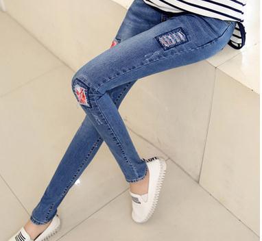 2017 Весна материнства одежда отверстие патч джинсы материнства высокая талия упругие ребристые карандаш живота брюки SH-NK86JYF
