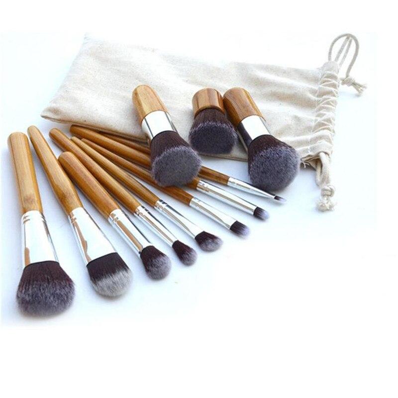 11pcs/set Professional Makeup Brushes Set Wood Superior Soft Cosmetic Eyeshadow Foundation Concealer Make up Brush Set with Bag professional bullet style cosmetic make up foundation soft brush golden white