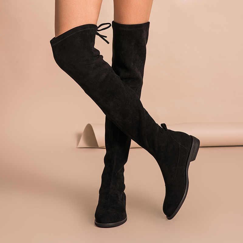 BeauToday Uzun Çizmeler Kadın Yepyeni Streç Kumaş Dantel-up Diz Sonbahar Kış moda bayan ayakkabı El Yapımı 01016