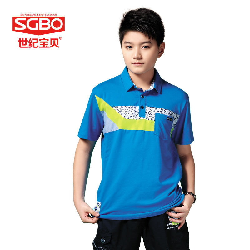 2015 New Summer Brand Teen Boy solid polo shirt 12 13 14 15 Years children Patchwork Tees Kids Tshirt 6C3050 - SGBO store