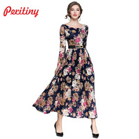 Peritiny Office Lady vestido de renda Full Sleeve Floral Print Autumn Winter Dress Female Clothes Long Dresses Brazil Russia
