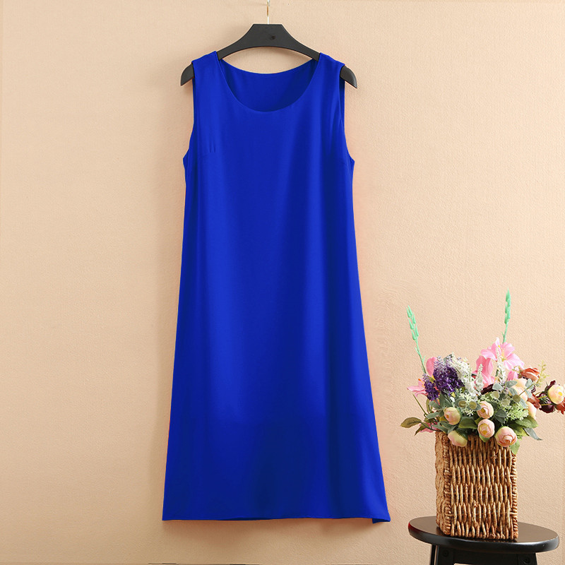 Summer Sleeveless Vest <font><b>Dress</b></font> Women <font><b>2018</b></font> New Bohemian Pure Color Loose <font><b>Sexy</b></font> <font><b>Chiffon</b></font> <font><b>Dress</b></font> Plus Size 5XL Women Clothing Vestidos image