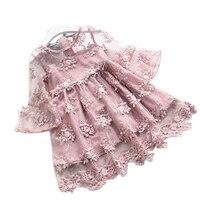 Elegant Girl Dress 2017 Summer Fashion Pink Lace Big Bow Party Tulle Flower Princess Wedding Dresses