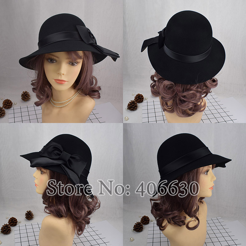 4d8b9931b5c Winter Elegant Women Bow Wool Felt Fedora Hats Wide Brim Dress Church Hats  Chapeu Feminino Free Shipping PWSV001