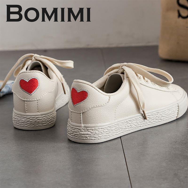 BOMIMI Women Flat Sneakers Summer White Lace Up Student Fashion Vulcanize Shoes Ladies Casual Shoes Female Canvas Shoes 2018 new canvas shoes spring summer women shoes genuine leather canvas shoes female round toe flat shoes lace up female canvas s