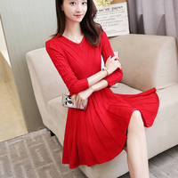 new 2017 autumn winter v neck long sleeve pleated Women knitting sweater dress red black knitwear girl outfit sweet clothes