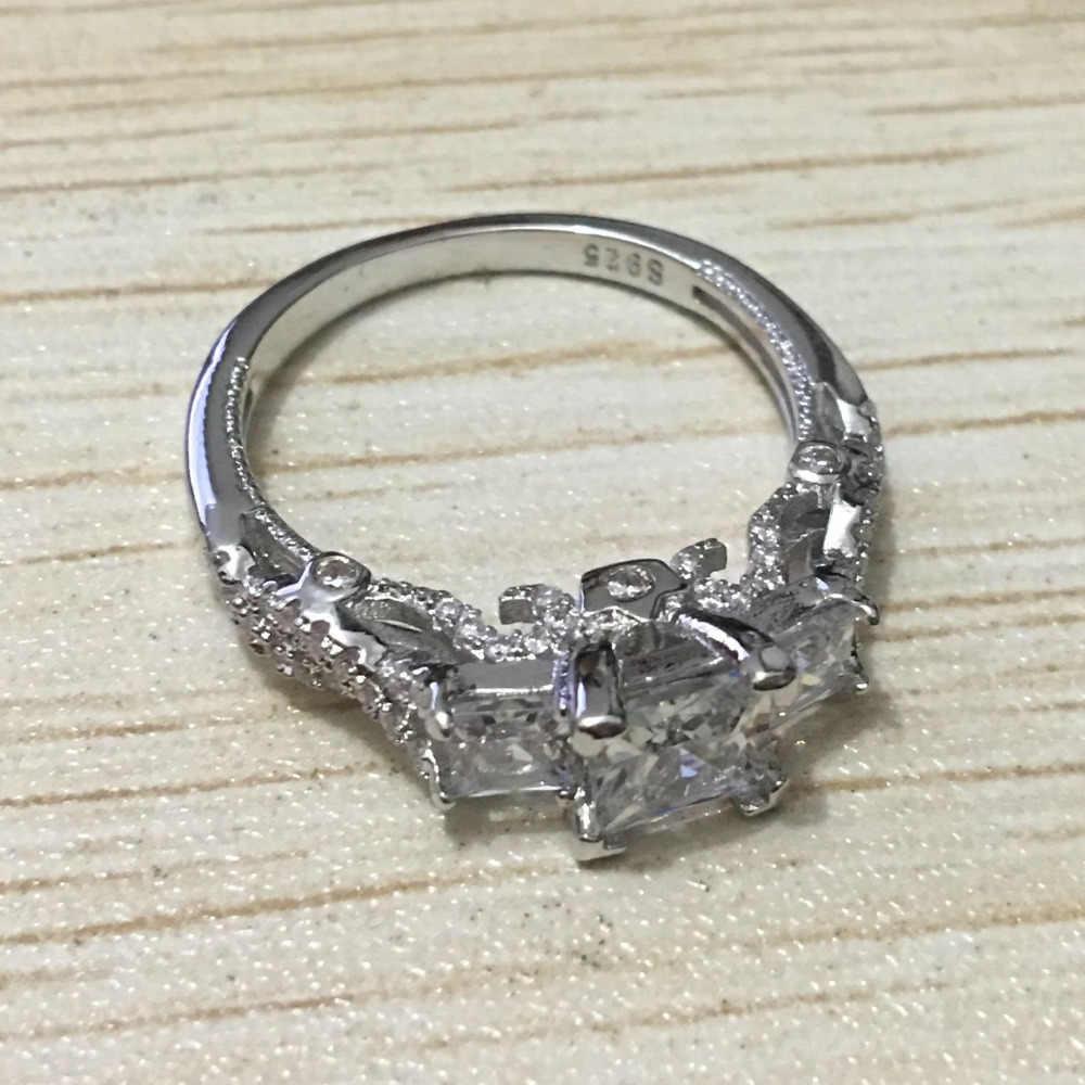 2016 женское Винтажное кольцо ручной работы с тремя камнями 2ct 5A Циркон Cz 925 пробы Серебряное обручальное кольцо для женщин