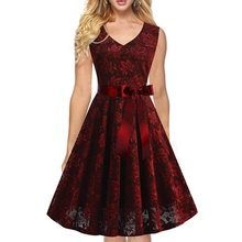 Womens Sexy sleeveless vintage Floral Lace elegant dress Cocktail Casual Party Fit and Flare Skater A-Line Midi Dress