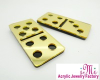 Double Dice Fashion Guys Gold Mirror Acrylic Stud Earrings
