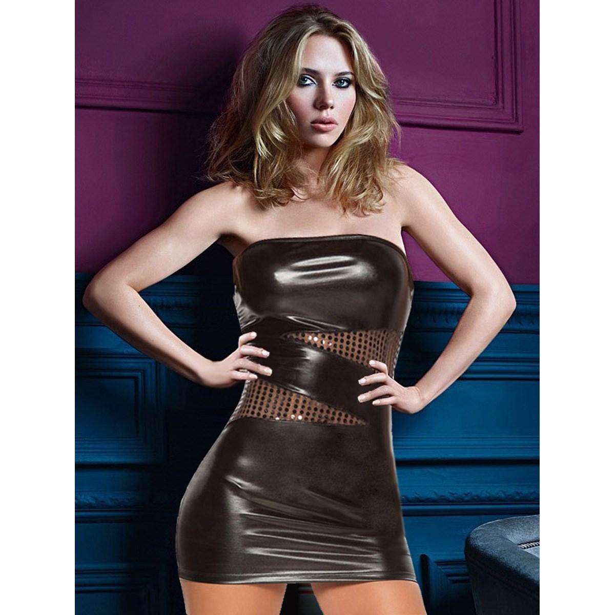 Robe de club Sexy pour femmes avec poitrine enveloppée de simili cuir et collants laqués Perspective robe fesse dos nu à poitrine basse 1